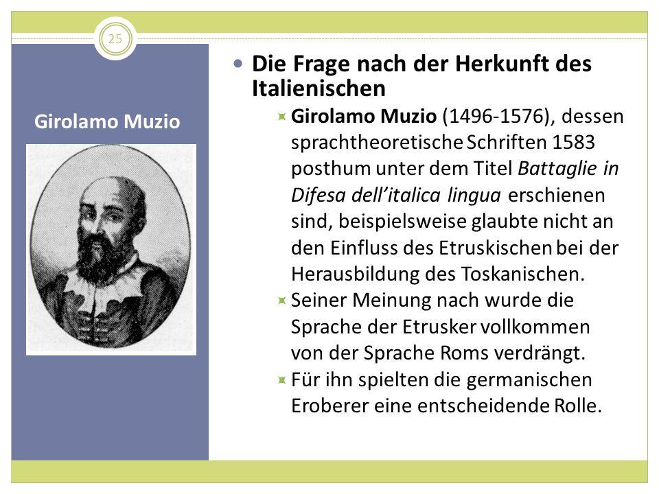 Girolamo Muzio Die Frage nach der Herkunft des Italienischen Girolamo Muzio (1496-1576), dessen sprachtheoretische Schriften 1583 posthum unter dem Ti
