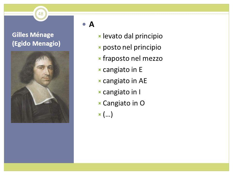 Gilles Ménage (Egido Menagio) A levato dal principio posto nel principio fraposto nel mezzo cangiato in E cangiato in AE cangiato in I Cangiato in O (