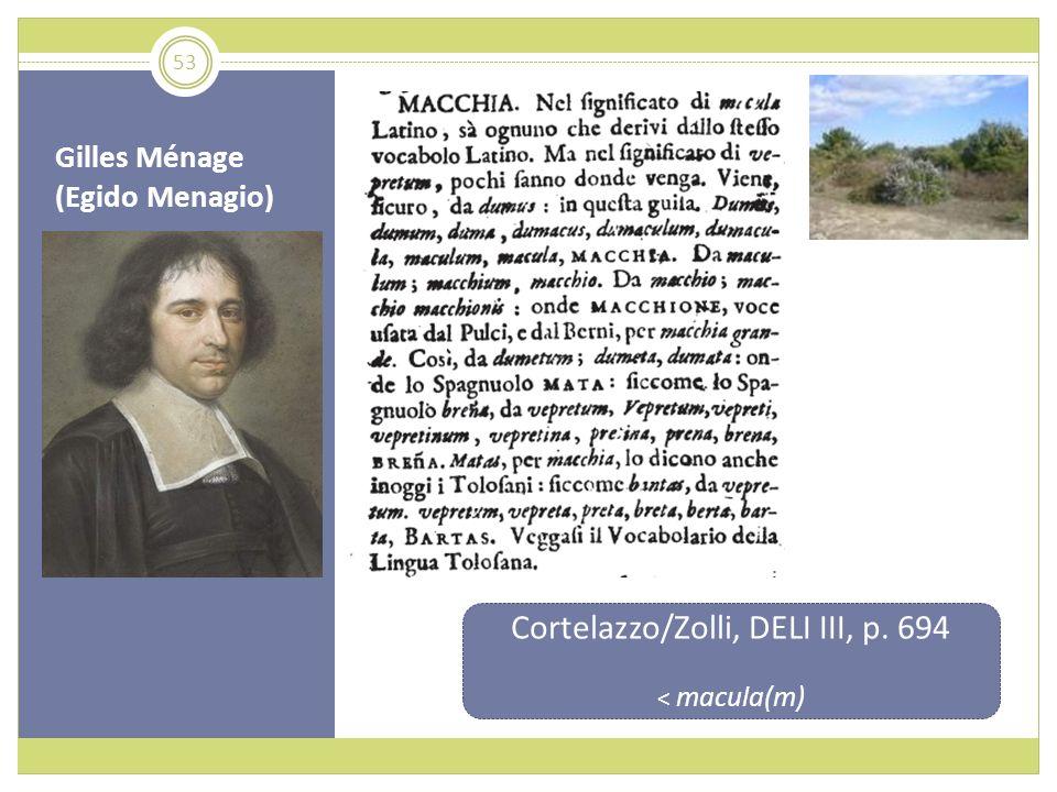 Gilles Ménage (Egido Menagio) Cortelazzo/Zolli, DELI III, p. 694 < macula(m) 53