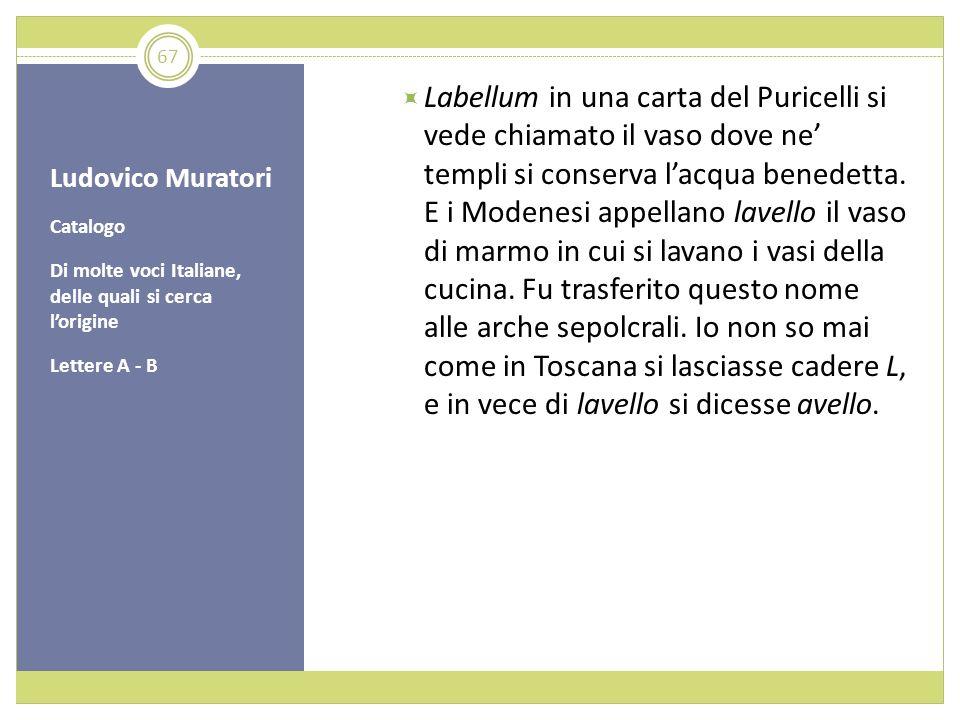 Ludovico Muratori Catalogo Di molte voci Italiane, delle quali si cerca lorigine Lettere A - B Labellum in una carta del Puricelli si vede chiamato il