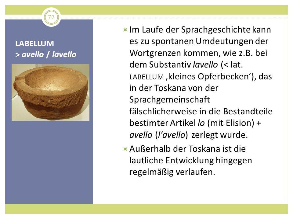 LABELLUM > avello / lavello Im Laufe der Sprachgeschichte kann es zu spontanen Umdeutungen der Wortgrenzen kommen, wie z.B. bei dem Substantiv lavello