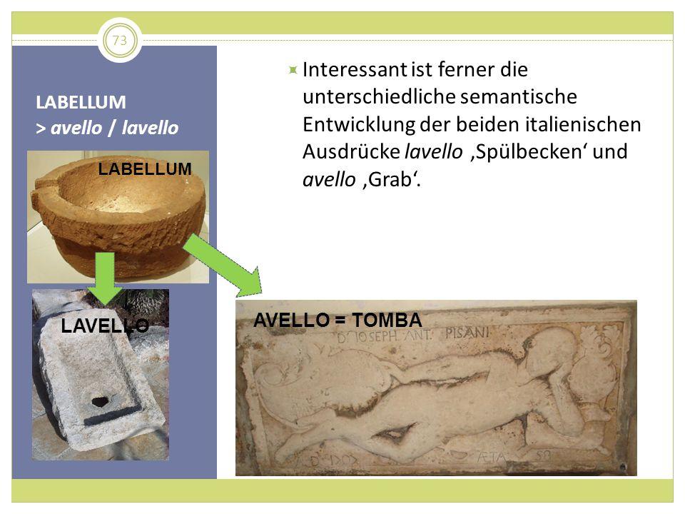LABELLUM > avello / lavello Interessant ist ferner die unterschiedliche semantische Entwicklung der beiden italienischen Ausdrücke lavello Spülbecken