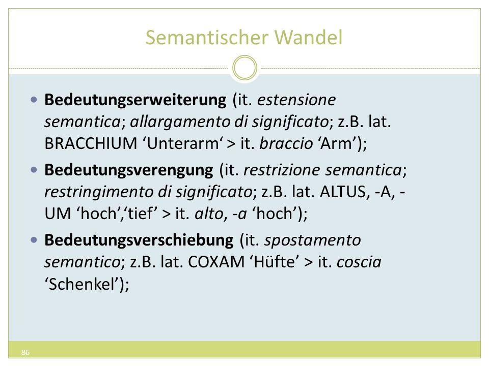Semantischer Wandel Bedeutungserweiterung (it. estensione semantica; allargamento di significato; z.B. lat. BRACCHIUM Unterarm > it. braccio Arm); Bed