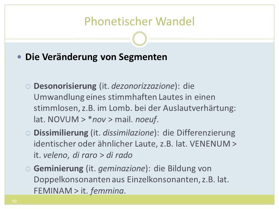 Phonetischer Wandel Die Veränderung von Segmenten Desonorisierung (it. dezonorizzazione): die Umwandlung eines stimmhaften Lautes in einen stimmlosen,