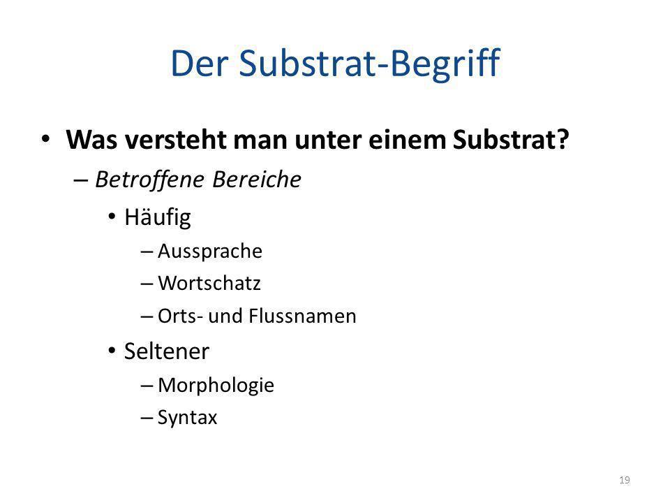 Der Substrat-Begriff Was versteht man unter einem Substrat? – Betroffene Bereiche Häufig – Aussprache – Wortschatz – Orts- und Flussnamen Seltener – M