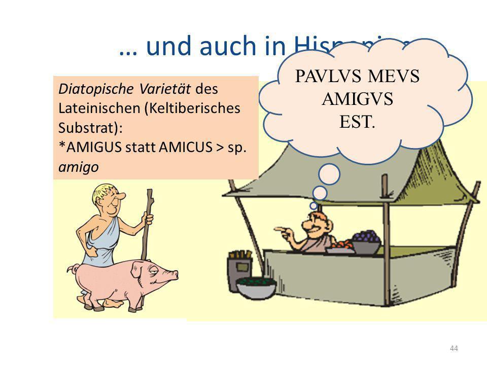 … und auch in Hispanien… 44 PAVLVS MEVS AMIGVS EST. Diatopische Varietät des Lateinischen (Keltiberisches Substrat): *AMIGUS statt AMICUS > sp. amigo