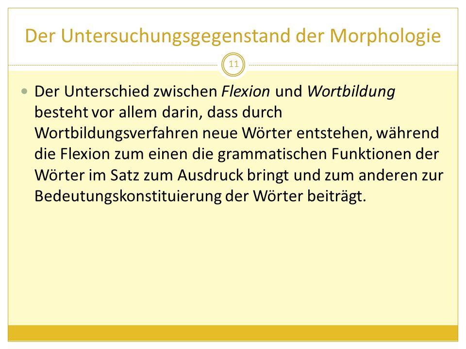 Der Untersuchungsgegenstand der Morphologie Der Unterschied zwischen Flexion und Wortbildung besteht vor allem darin, dass durch Wortbildungsverfahren