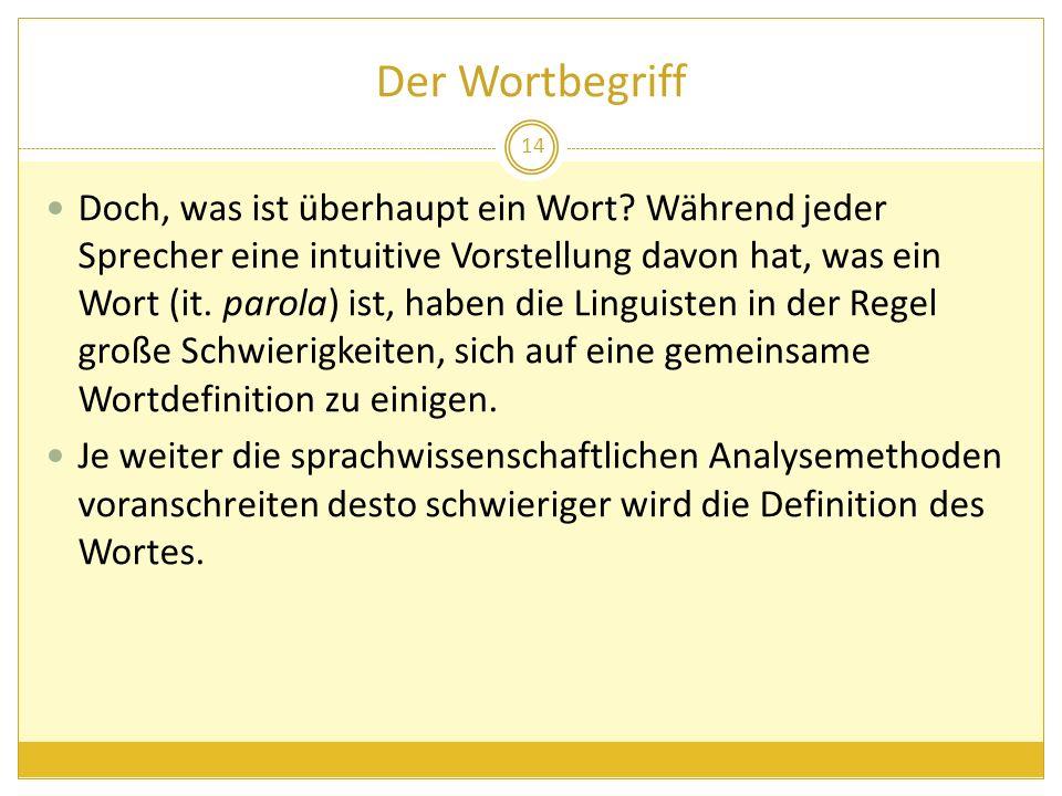 Der Wortbegriff Doch, was ist überhaupt ein Wort? Während jeder Sprecher eine intuitive Vorstellung davon hat, was ein Wort (it. parola) ist, haben di