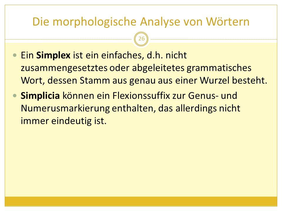 Ein Simplex ist ein einfaches, d.h. nicht zusammengesetztes oder abgeleitetes grammatisches Wort, dessen Stamm aus genau aus einer Wurzel besteht. Sim