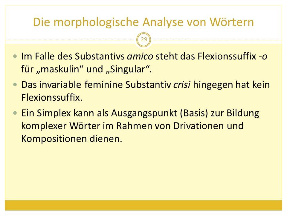 Die morphologische Analyse von Wörtern Im Falle des Substantivs amico steht das Flexionssuffix -o für maskulin und Singular. Das invariable feminine S
