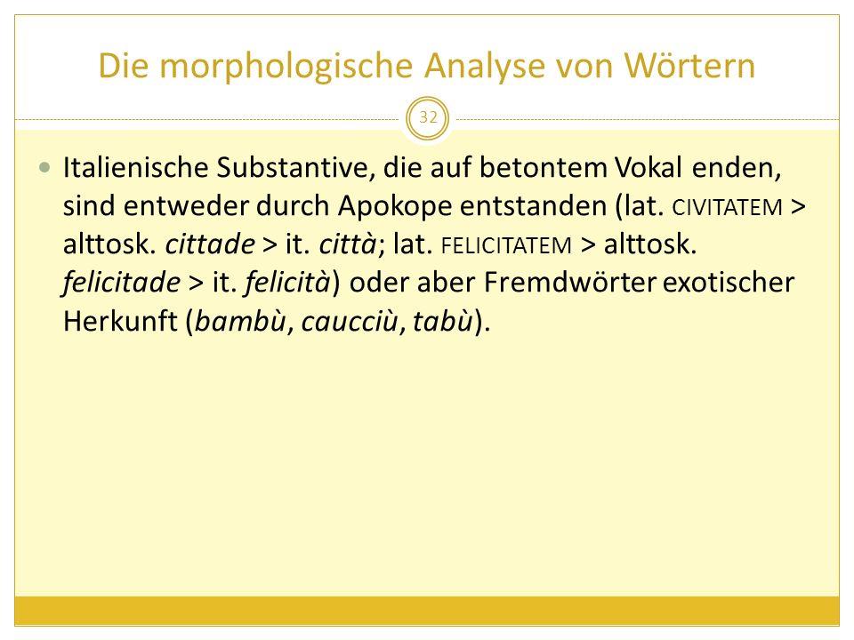 Die morphologische Analyse von Wörtern Italienische Substantive, die auf betontem Vokal enden, sind entweder durch Apokope entstanden (lat. CIVITATEM