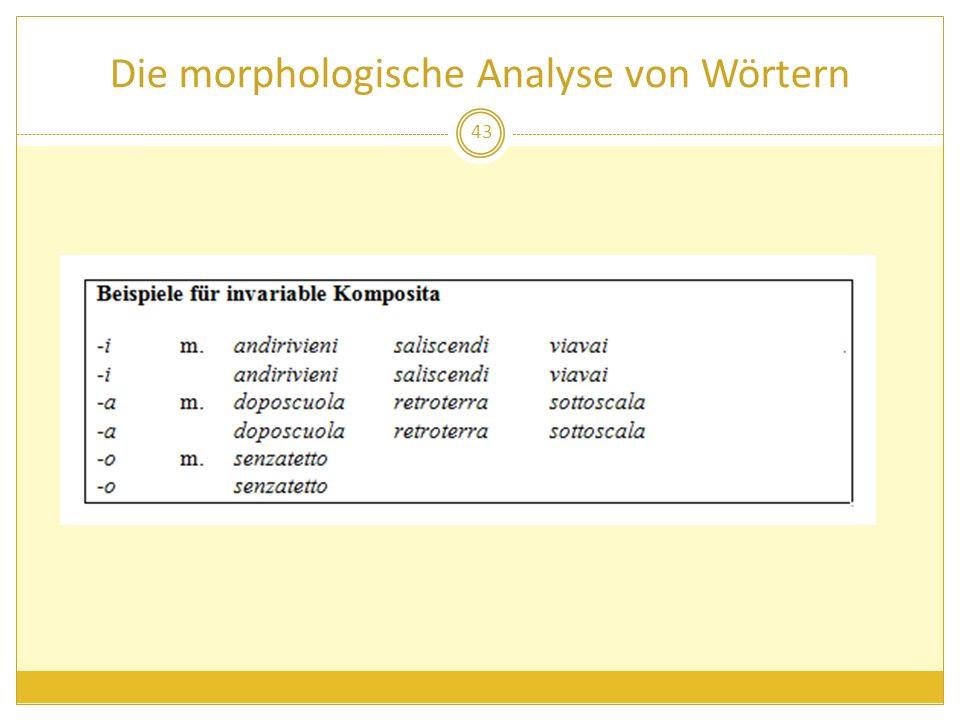 Die morphologische Analyse von Wörtern 43