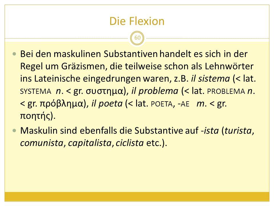 Die Flexion Bei den maskulinen Substantiven handelt es sich in der Regel um Gräzismen, die teilweise schon als Lehnwörter ins Lateinische eingedrungen