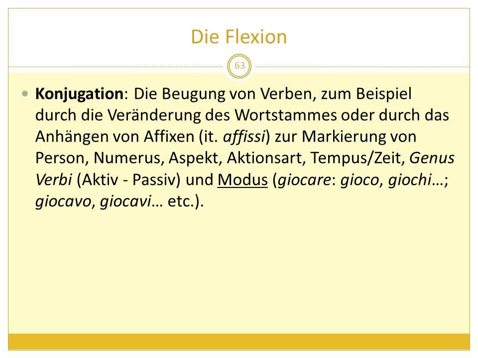 Die Flexion 63 Konjugation: Die Beugung von Verben, zum Beispiel durch die Veränderung des Wortstammes oder durch das Anhängen von Affixen (it. affiss