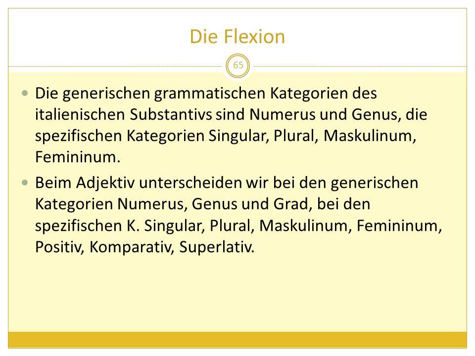 Die Flexion 65 Die generischen grammatischen Kategorien des italienischen Substantivs sind Numerus und Genus, die spezifischen Kategorien Singular, Pl