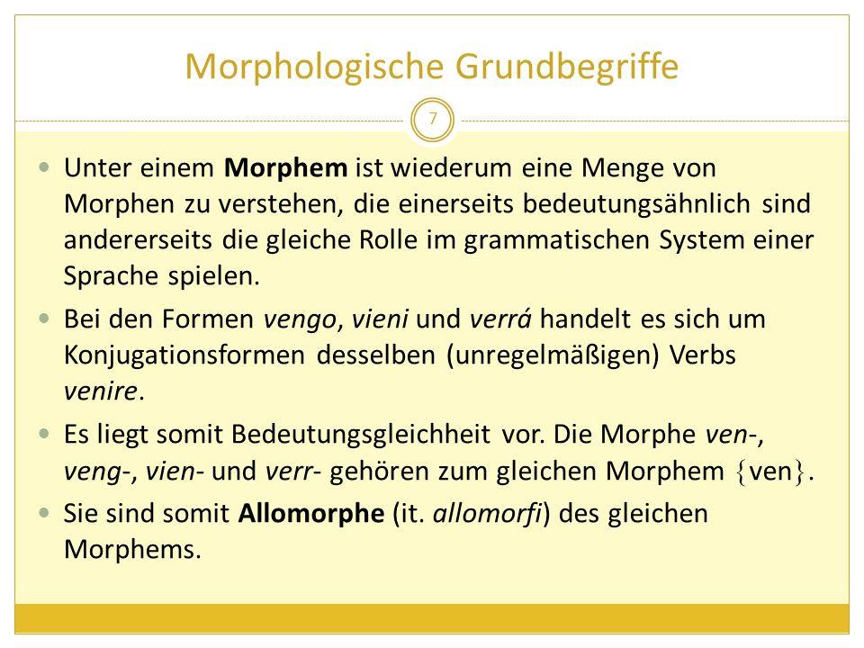 Morphologische Grundbegriffe Unter einem Morphem ist wiederum eine Menge von Morphen zu verstehen, die einerseits bedeutungsähnlich sind andererseits