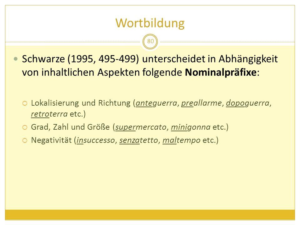 Wortbildung 80 Schwarze (1995, 495-499) unterscheidet in Abhängigkeit von inhaltlichen Aspekten folgende Nominalpräfixe: Lokalisierung und Richtung (a