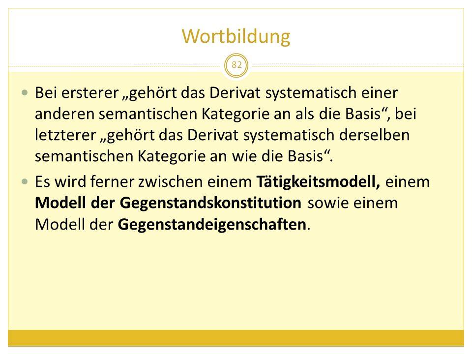 Wortbildung 82 Bei ersterer gehört das Derivat systematisch einer anderen semantischen Kategorie an als die Basis, bei letzterer gehört das Derivat sy