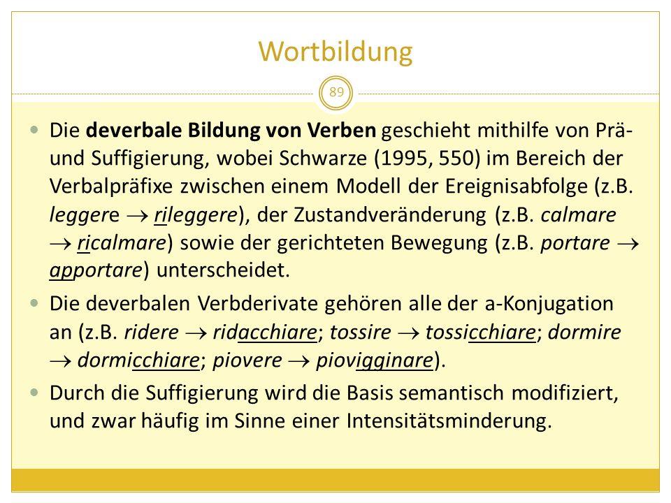 Wortbildung 89 Die deverbale Bildung von Verben geschieht mithilfe von Prä- und Suffigierung, wobei Schwarze (1995, 550) im Bereich der Verbalpräfixe