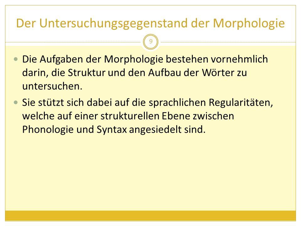 Der Untersuchungsgegenstand der Morphologie Die morphologische Forschung befasst sich sowohl mit den Flexionsformen einer gegebenen Sprache und als auch mit der Wortbildung in all ihrer Komplexität.