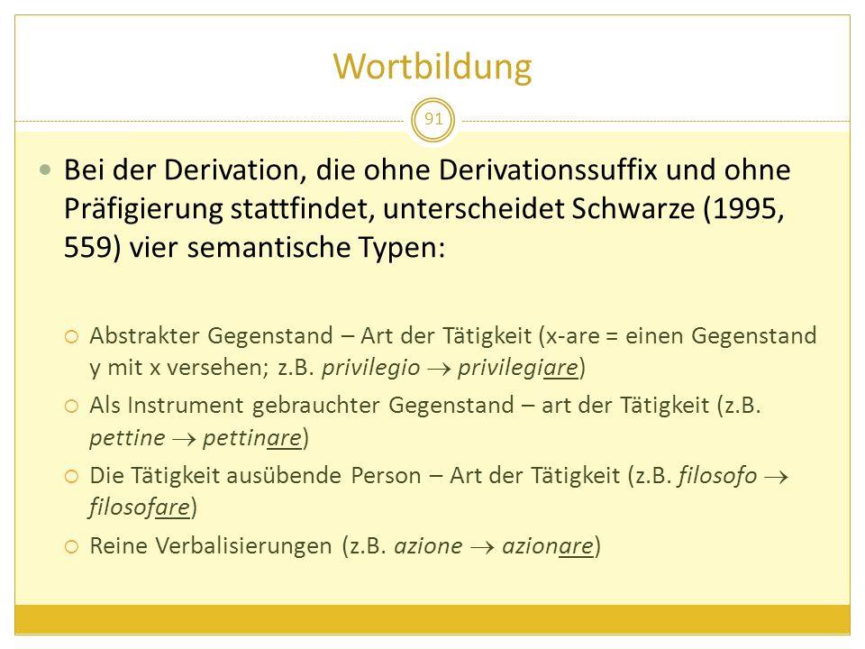 Wortbildung 91 Bei der Derivation, die ohne Derivationssuffix und ohne Präfigierung stattfindet, unterscheidet Schwarze (1995, 559) vier semantische T