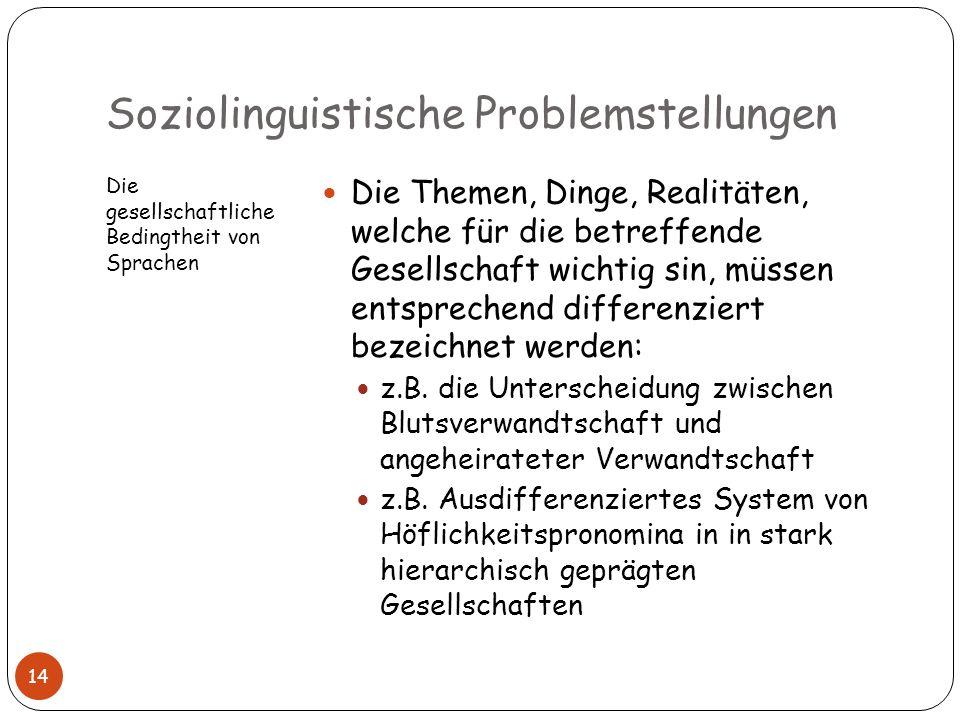 Soziolinguistische Problemstellungen Die gesellschaftliche Bedingtheit von Sprachen Die Themen, Dinge, Realitäten, welche für die betreffende Gesellsc