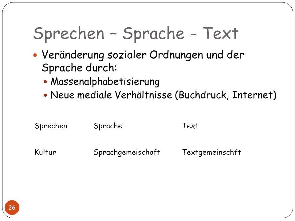 Sprechen – Sprache - Text 26 Veränderung sozialer Ordnungen und der Sprache durch: Massenalphabetisierung Neue mediale Verhältnisse (Buchdruck, Intern