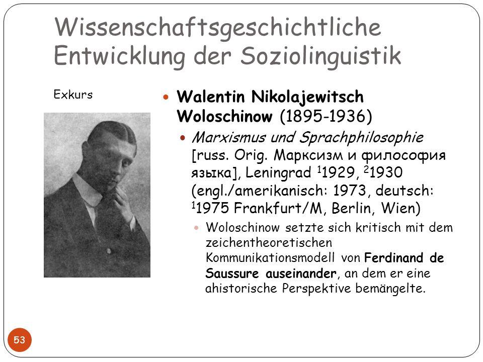 Wissenschaftsgeschichtliche Entwicklung der Soziolinguistik Exkurs 53 Walentin Nikolajewitsch Woloschinow (1895-1936) Marxismus und Sprachphilosophie