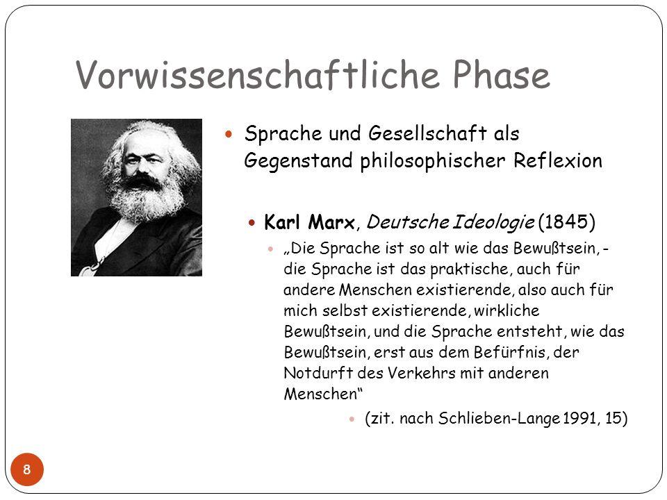 Vorwissenschaftliche Phase Sprache und Gesellschaft als Gegenstand philosophischer Reflexion Karl Marx, Deutsche Ideologie (1845) Die Sprache ist so a