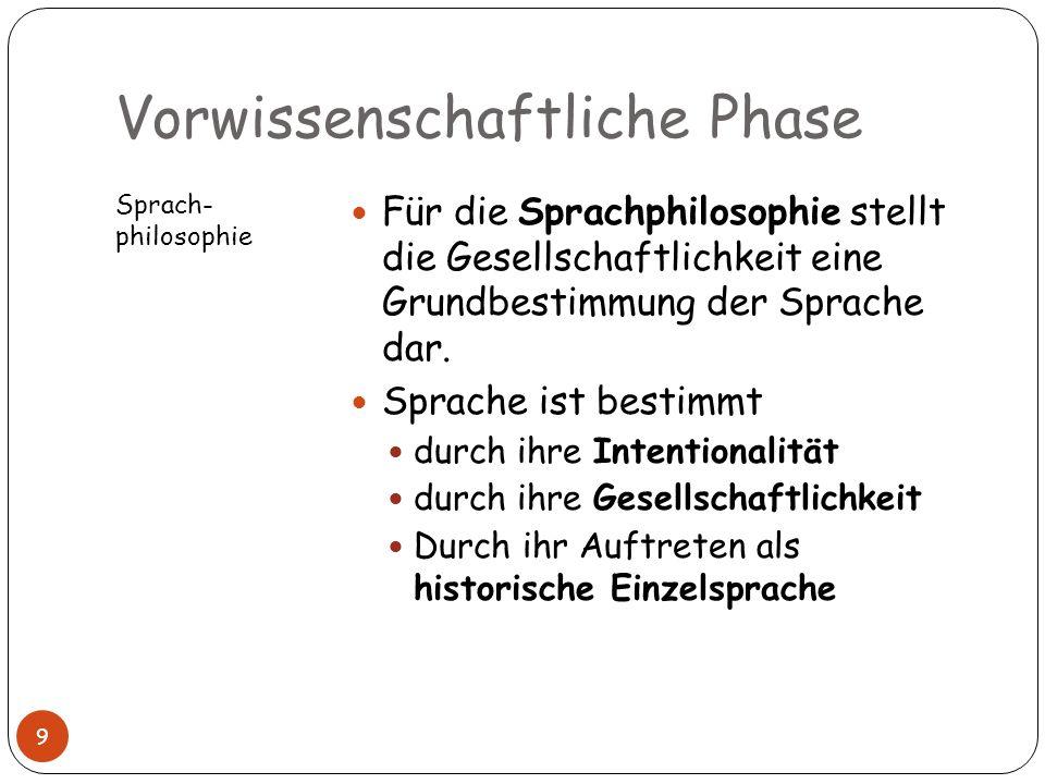 Vorwissenschaftliche Phase Sprach- philosophie Für die Sprachphilosophie stellt die Gesellschaftlichkeit eine Grundbestimmung der Sprache dar. Sprache