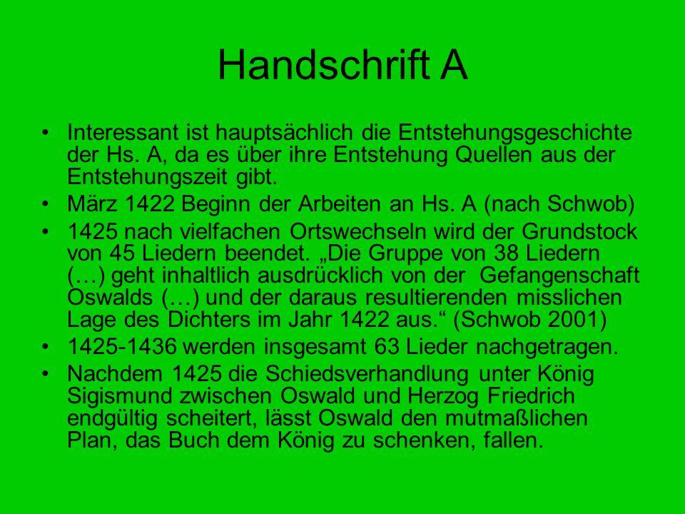 Handschrift A Interessant ist hauptsächlich die Entstehungsgeschichte der Hs. A, da es über ihre Entstehung Quellen aus der Entstehungszeit gibt. März