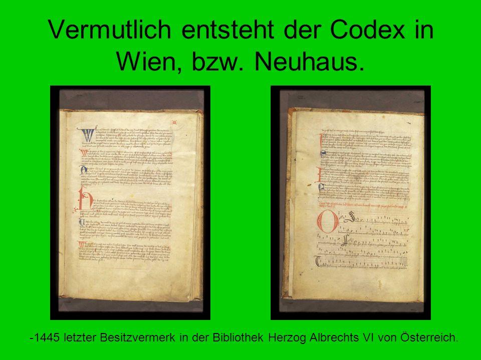 Vermutlich entsteht der Codex in Wien, bzw. Neuhaus. -1445 letzter Besitzvermerk in der Bibliothek Herzog Albrechts VI von Österreich.