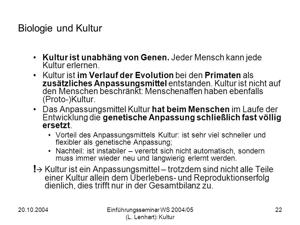 20.10.2004Einführungsseminar WS 2004/05 (L.Lenhart): Kultur 23 Rassismus heute .