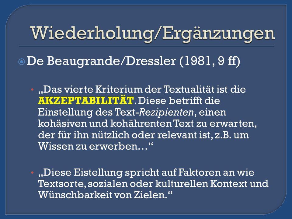 De Beaugrande/Dressler (1981, 9 ff) Das vierte Kriterium der Textualität ist die AKZEPTABILITÄT. Diese betrifft die Einstellung des Text-Rezipienten,
