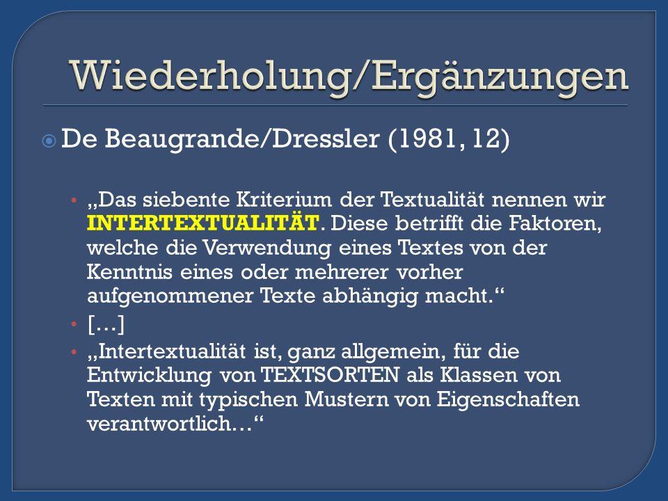 De Beaugrande/Dressler (1981, 12) Das siebente Kriterium der Textualität nennen wir INTERTEXTUALITÄT. Diese betrifft die Faktoren, welche die Verwendu