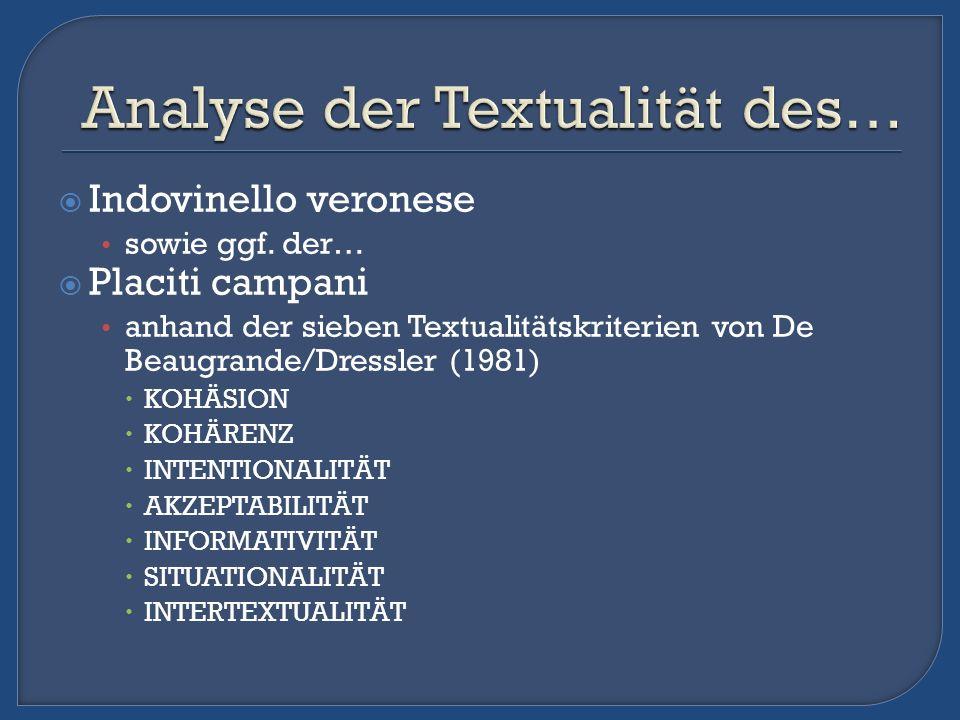 Indovinello veronese sowie ggf. der… Placiti campani anhand der sieben Textualitätskriterien von De Beaugrande/Dressler (1981) KOHÄSION KOHÄRENZ INTEN