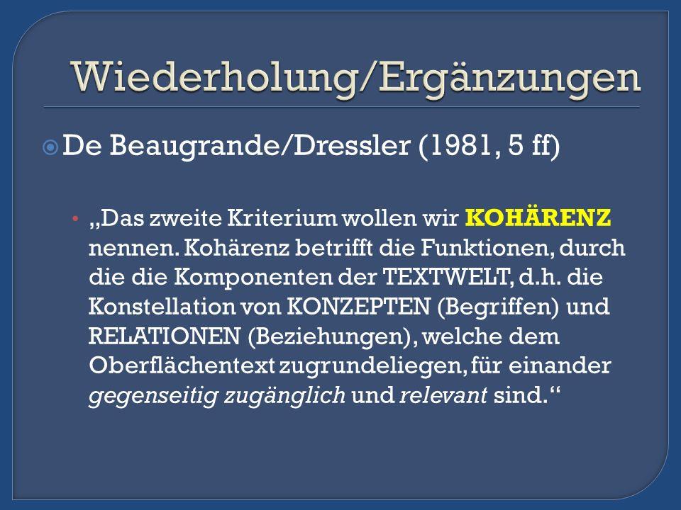 De Beaugrande/Dressler (1981, 5 ff) Das zweite Kriterium wollen wir KOHÄRENZ nennen. Kohärenz betrifft die Funktionen, durch die die Komponenten der T