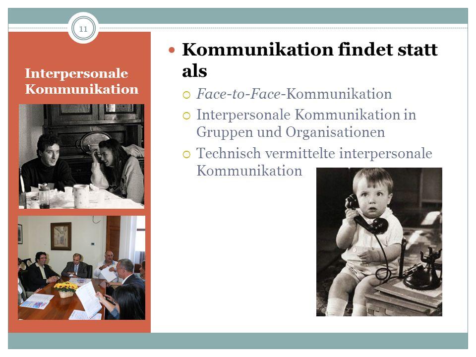 Interpersonale Kommunikation Kommunikation findet statt als Face-to-Face-Kommunikation Interpersonale Kommunikation in Gruppen und Organisationen Tech