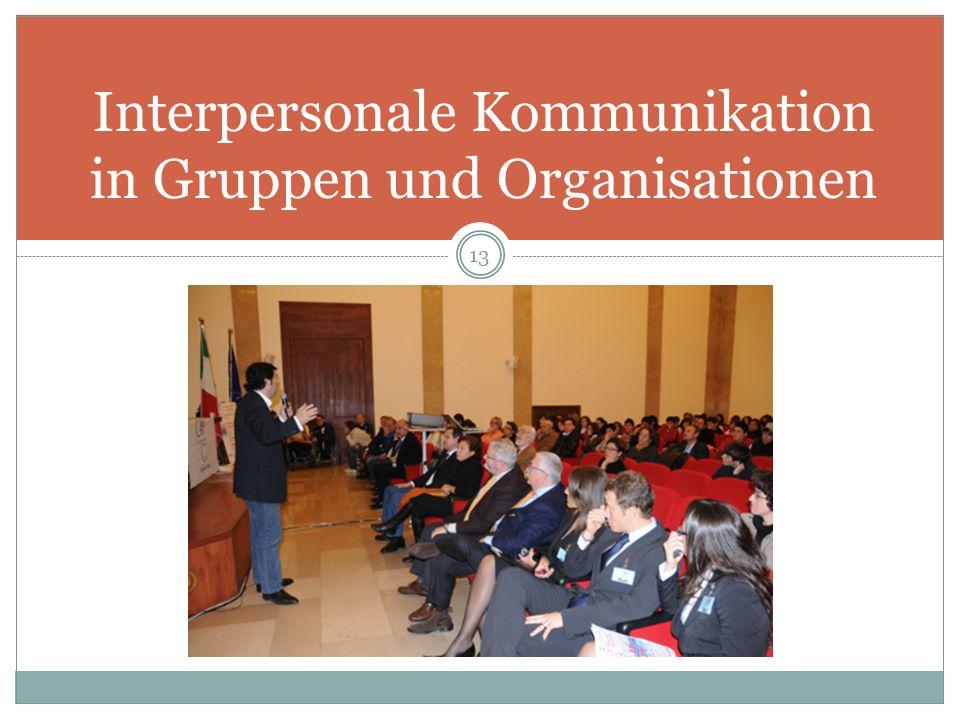 Interpersonale Kommunikation in Gruppen und Organisationen 13