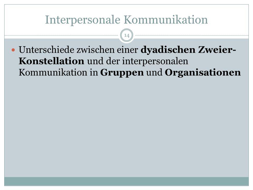Interpersonale Kommunikation Unterschiede zwischen einer dyadischen Zweier- Konstellation und der interpersonalen Kommunikation in Gruppen und Organis