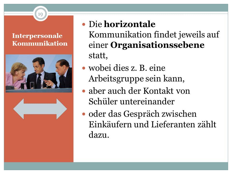 Interpersonale Kommunikation Die horizontale Kommunikation findet jeweils auf einer Organisationssebene statt, wobei dies z. B. eine Arbeitsgruppe sei