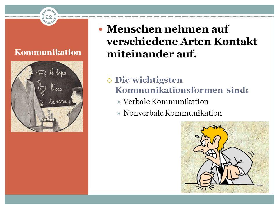 Kommunikation Menschen nehmen auf verschiedene Arten Kontakt miteinander auf. Die wichtigsten Kommunikationsformen sind: Verbale Kommunikation Nonverb