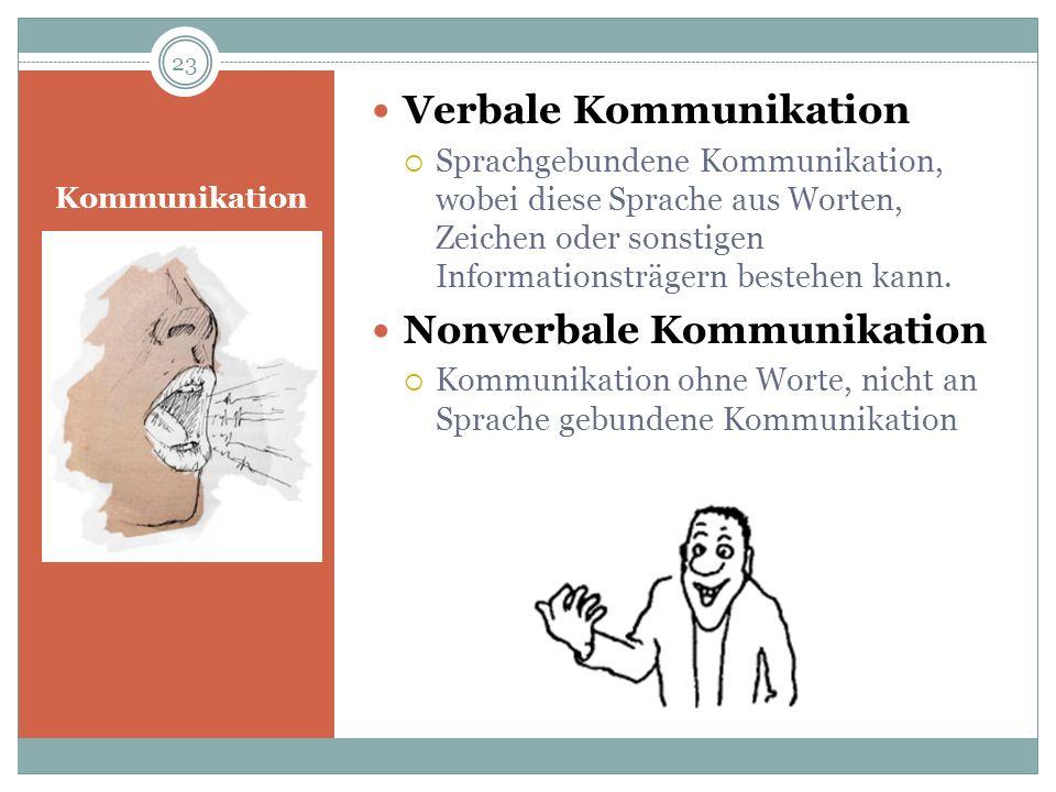 Kommunikation Verbale Kommunikation Sprachgebundene Kommunikation, wobei diese Sprache aus Worten, Zeichen oder sonstigen Informationsträgern bestehen