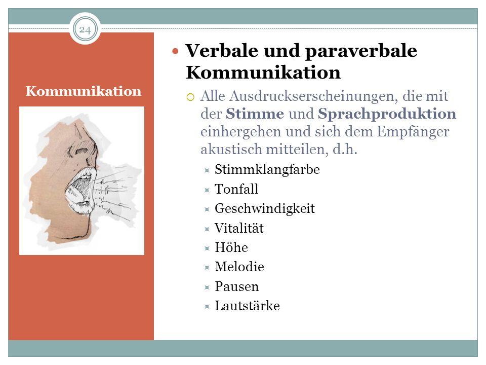 Kommunikation Verbale und paraverbale Kommunikation Alle Ausdruckserscheinungen, die mit der Stimme und Sprachproduktion einhergehen und sich dem Empf