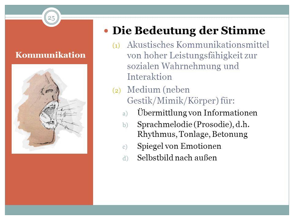 Kommunikation Die Bedeutung der Stimme (1) Akustisches Kommunikationsmittel von hoher Leistungsfähigkeit zur sozialen Wahrnehmung und Interaktion (2)