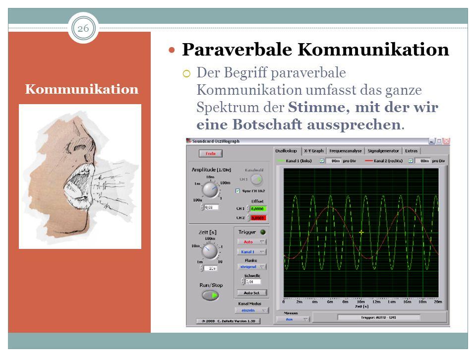 Kommunikation Paraverbale Kommunikation Der Begriff paraverbale Kommunikation umfasst das ganze Spektrum der Stimme, mit der wir eine Botschaft ausspr