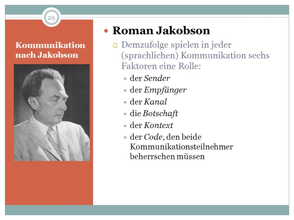 Kommunikation nach Jakobson Roman Jakobson Demzufolge spielen in jeder (sprachlichen) Kommunikation sechs Faktoren eine Rolle: der Sender der Empfänge