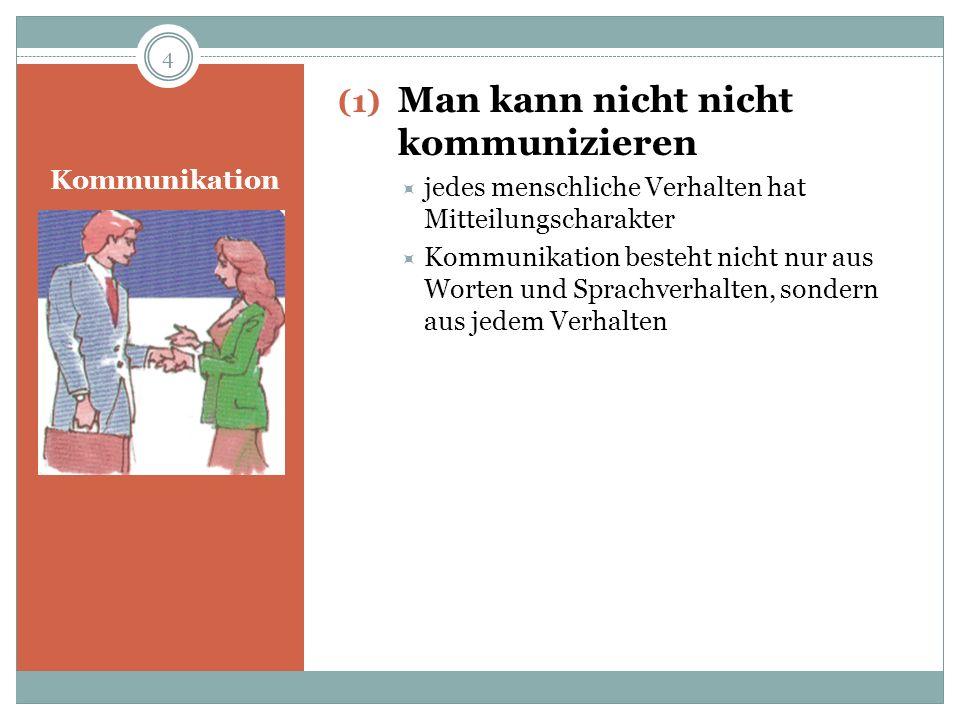 Kommunikation (2) Jede Kommunikation enthält einen Beziehungs- und einen Inhaltsaspekt Beziehungsaspekt: Wie wird es gesagt (durch Mimik, Gestik, Tonfall) Inhaltsaspekt: Was wird gesagt (Inhalt der Nachricht, die übertragen wird) 5