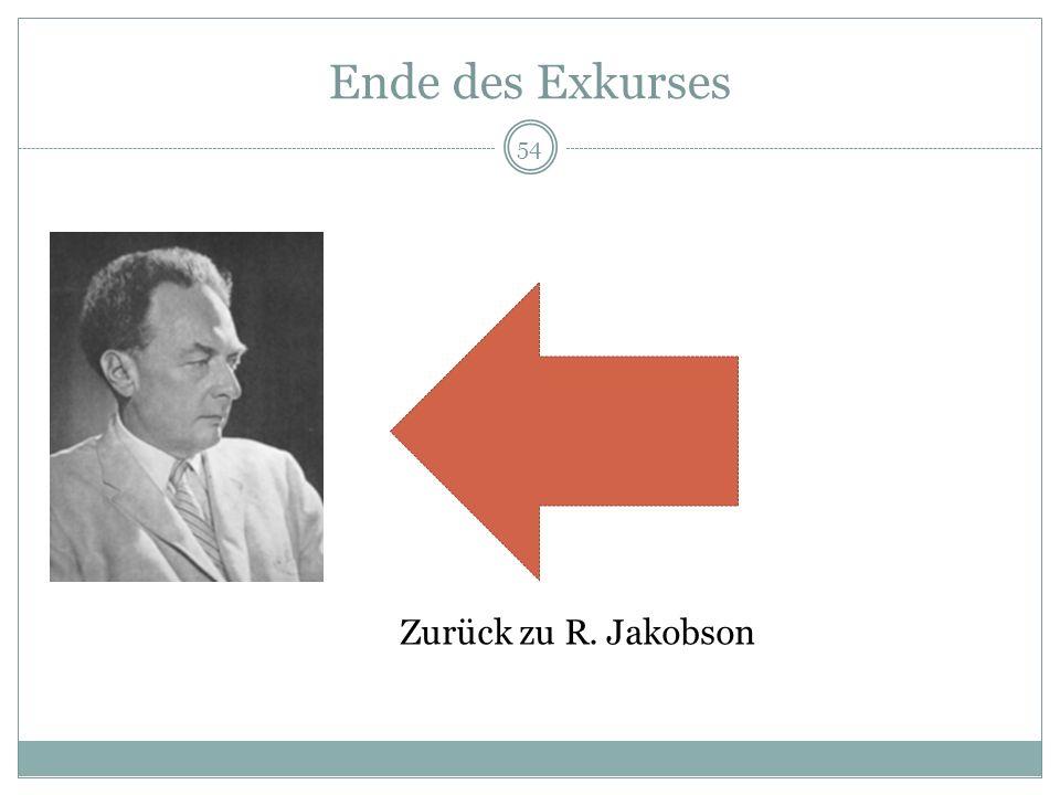 Ende des Exkurses Zurück zu R. Jakobson 54
