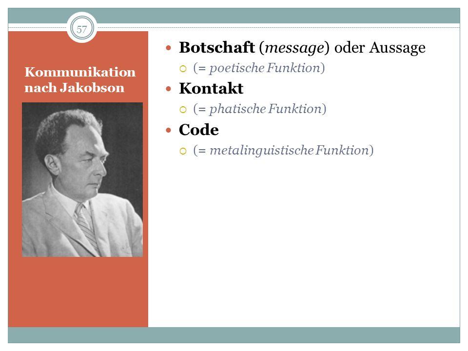 Kommunikation nach Jakobson Botschaft (message) oder Aussage (= poetische Funktion) Kontakt (= phatische Funktion) Code (= metalinguistische Funktion)